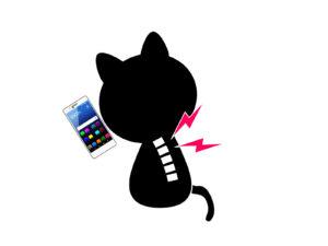 猫背になっているイラスト